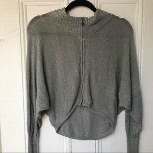 SARAH PACINI linen zipper cardigan SMALL grey
